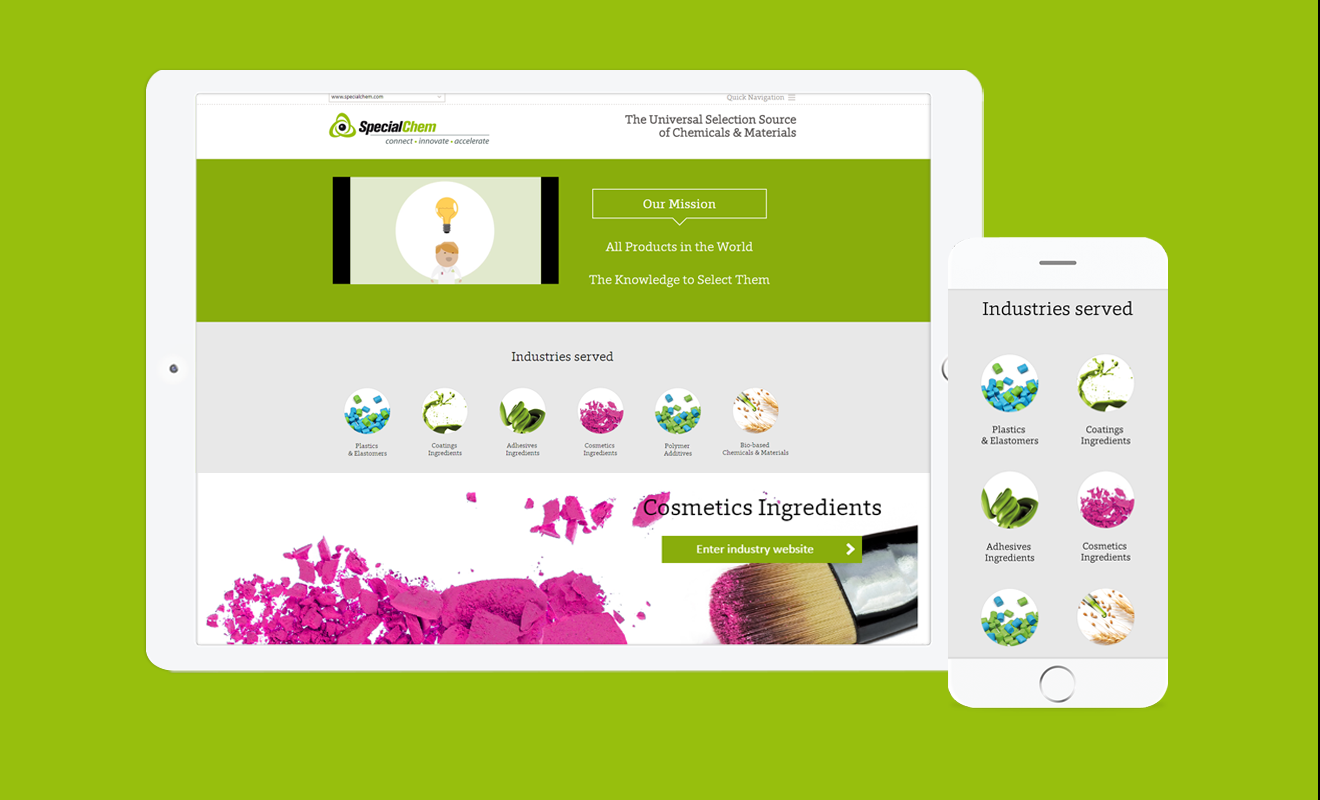 Special Chem - refonte responsive vues tablette et mobile
